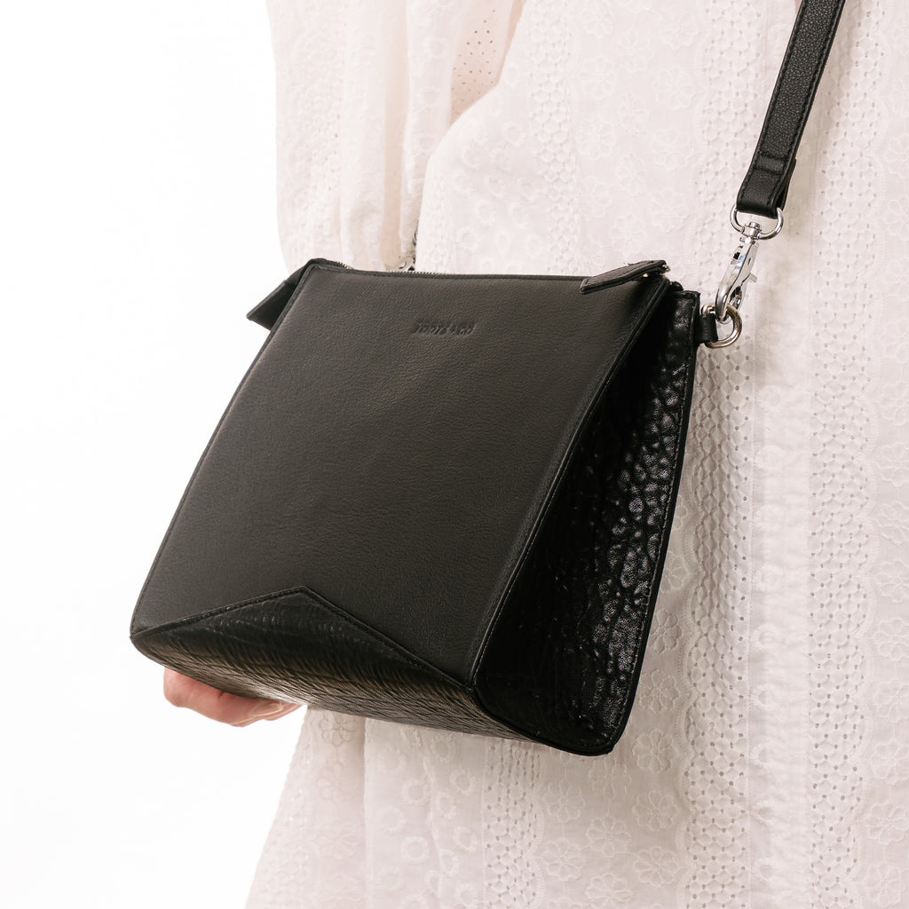 Outrigger Cross Body - Matt Black Full Grain Leather
