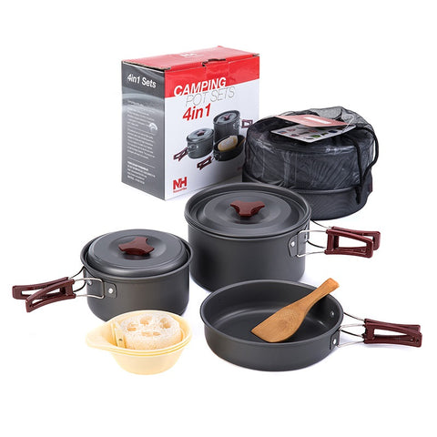 Ultralight outdoor camping cookware three piece set pots and pan All
