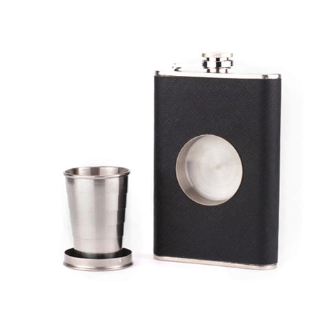 8 fl. oz. leather flask with cup  stainless steel