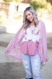 Making Me Blush Popcorn Knit Cardigan