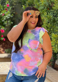 Flutter By Tie Dye Ruffled Top