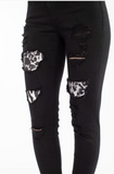 Rebel With a Cause Snow Leopard Patch Kan Can Skinnies
