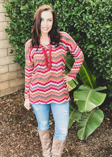 Berry Chevron Long Sleeve Knit Top