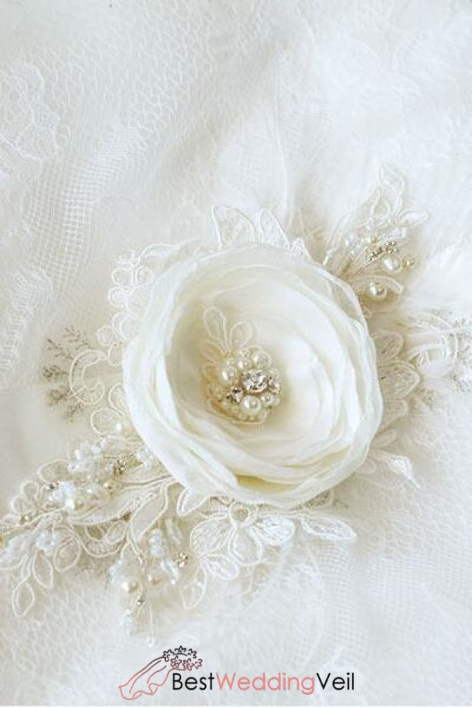 Ivory Floral Bridal Belt Applique Lace Beaded Pearls Belts & Sashes