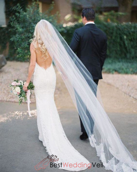 Graceful White Cathedral Veil Wedding With Partial Lace Applique Edge