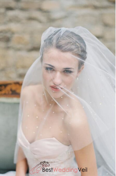 Romantic Beaded Cathedral Blusher Wedding Veil Online