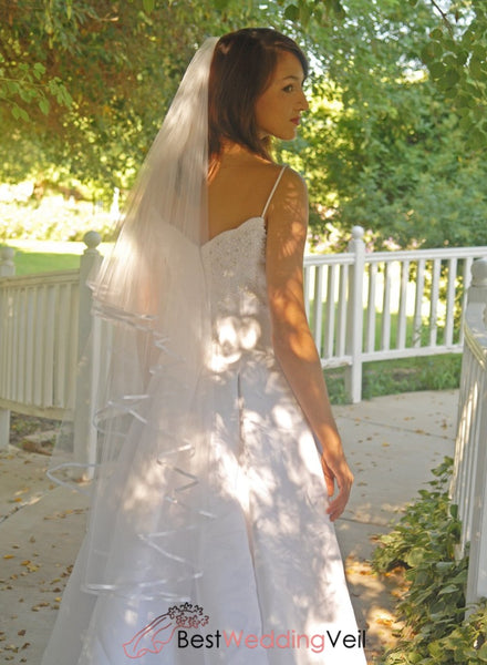 Drop Style Wedding Veil With Satin Ribbon Edge And Blusher