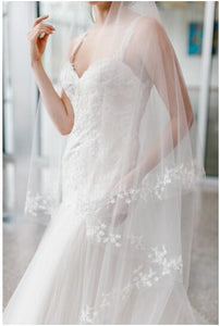 Two-Tier Chapel Length Tulle Wedding Veil With Applique Edge