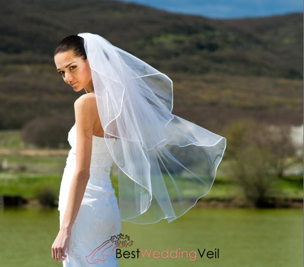 Fingertip White Bridal Wedding Veil With Satin Cord Trim