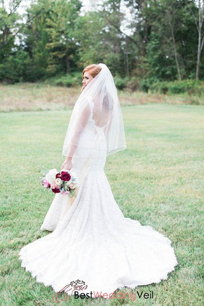 Simple Style Double Tier Wedding Veil Fingertip Length