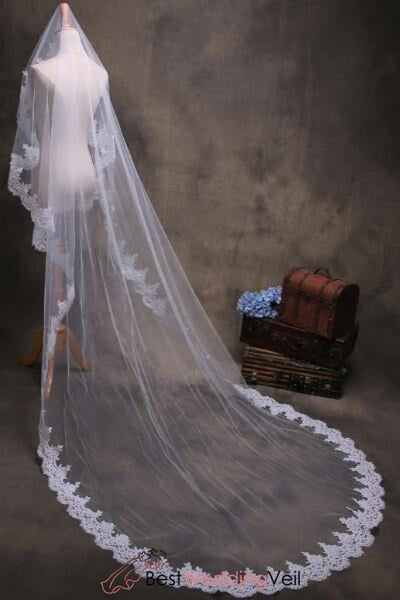 Affordable Lace Bridal Veils And Wedding Veil Long Length Tulle