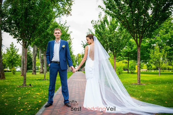 Beautiful Long Soft Cascade Wedding Veil With Comb