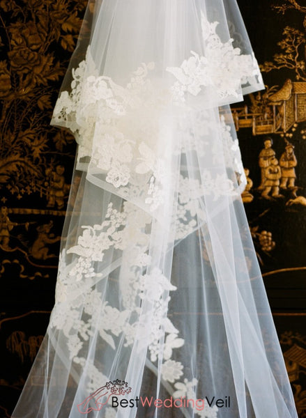 Lace Wedding Veils Double Tiers Tulle Cathedral Length Ribbon Veil