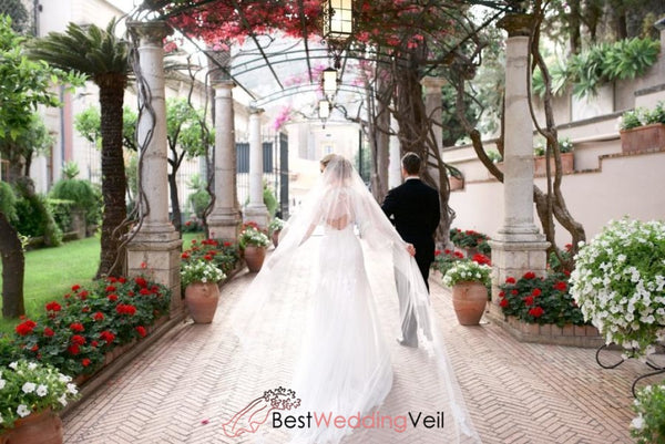 Pretty Lace Over Tulle Ivory Long Wedding Veil With Comb