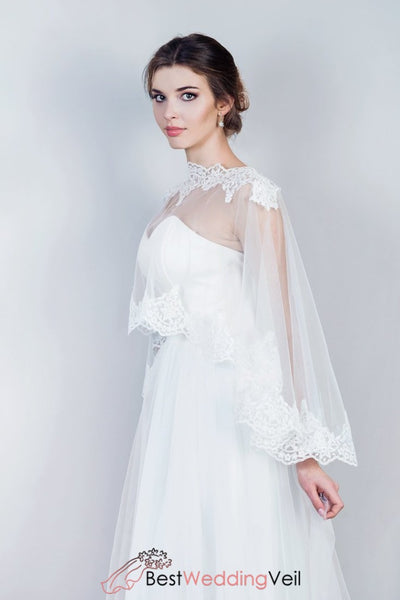 Bridal Lace Cape Elegant Tulle Wraps With Applique Edges Jacket&bolero