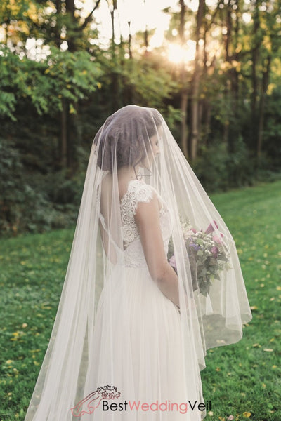 Custom Made Ivory Bridal Veil With Long Blusher Weddings Accessories Wedding