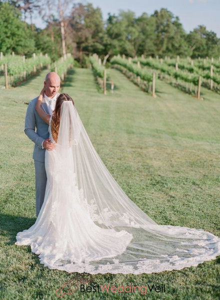 Inexpensive Long Wedding Veils With Floral Applique Lace And Comb Veil
