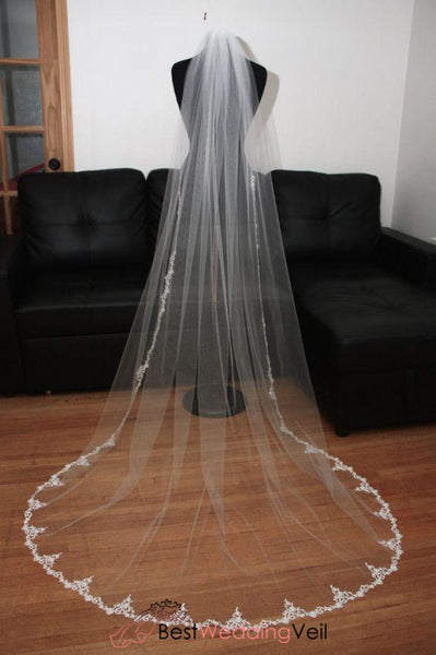 Custom Made Soft Tulle Long Ivory Bridal Veils With Lace Trim Wedding Veil