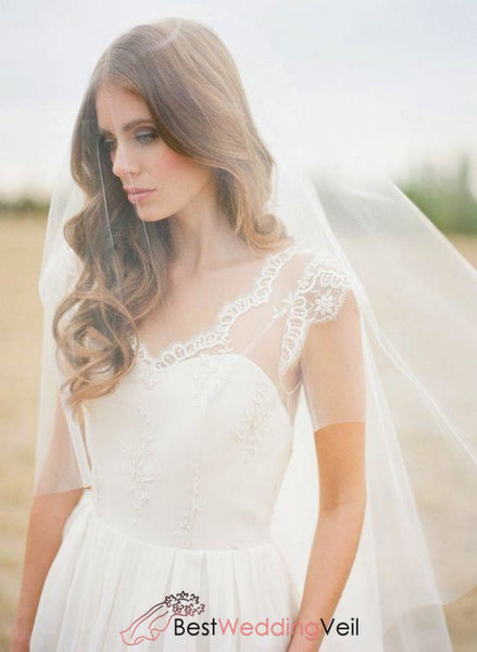 Simple Tulle Cut Edge Long Wedding Veil With Blusher For Brides