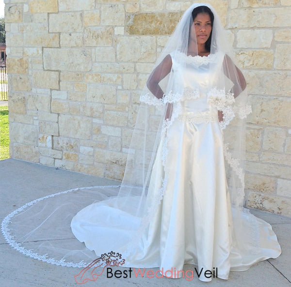 Beaded Lace Wedding Veil In Two Tiers Cathedral Length Alencon French Style Blusher