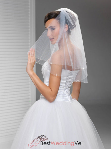 Blusher Double Layers Tulle Bride Veils With Beading Edge Wedding Veil