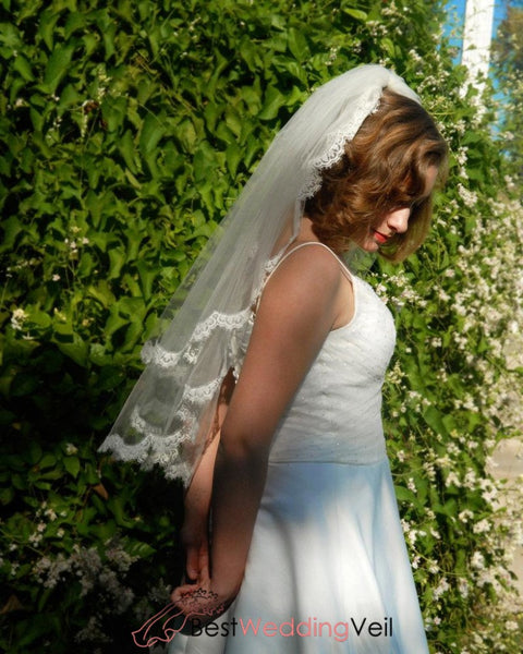Blusher Elbow Length Two Tier Wedding Veil With French Chantilly Lace Trim