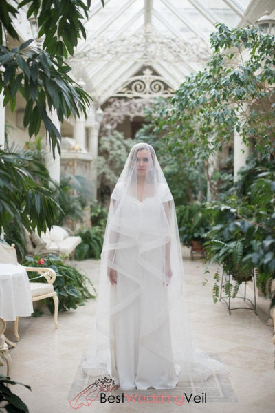 Wide Organza Edge Puffy Tulle Ivory Wedding Veils Shopify Veil
