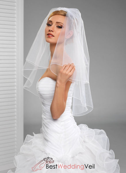 Illusion Tulle Elbow Length Wedding Veil With Comb