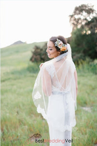 Fingertip Length Lace Wedding Veil With Comb