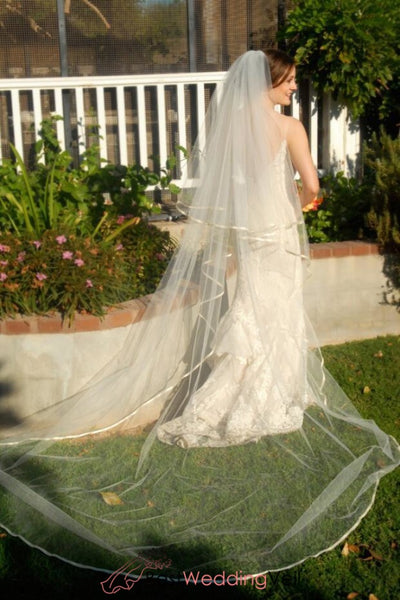 Full Cathedral Wedding Veil Drop Style With Satin Edge Blusher Layer