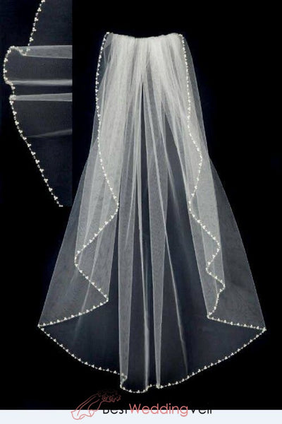 Pearl Wedding Veil With Seed Beads Waist Length