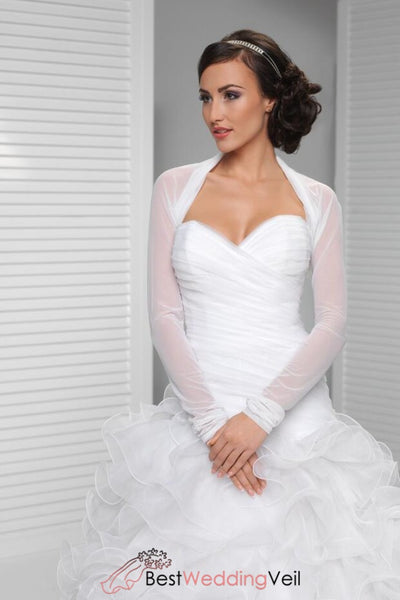 Long Sleeve Simple Bridal Shrug Tulle White Wedding Jackets Jacket&bolero
