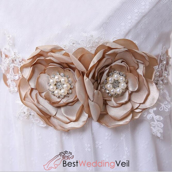 Bridesmaid Sash/belt With Pearls Flower Girl Sash Rustic Stones Wedding Belt Bridal Belts & Sashes