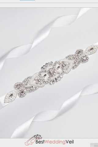 Pearls And Stones White Wedding Sashes Belts In Stock &
