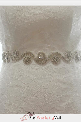Beautiful Wave Rhinestones Wedding Belt Beaded Bridal Sashes Belts &