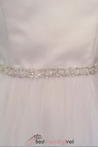 Skinny Beaded Bridal Belt Thin Ribbon Crystal/pearl Sash Narrow Rhinestone Trim Belts & Sashes