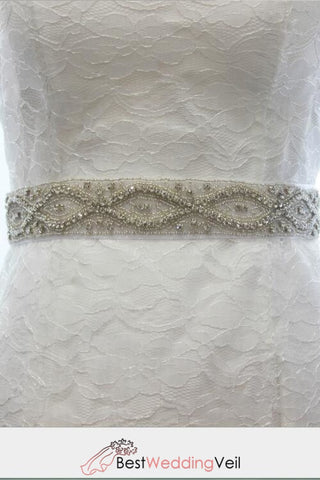 All Around Beading Bridal Belt Wedding Sash Crystal Jeweled Rhinestone Belts & Sashes