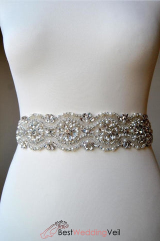 Rhinestone Wedding Bridal Sash Belt Beading Pearls All Around Belts & Sashes