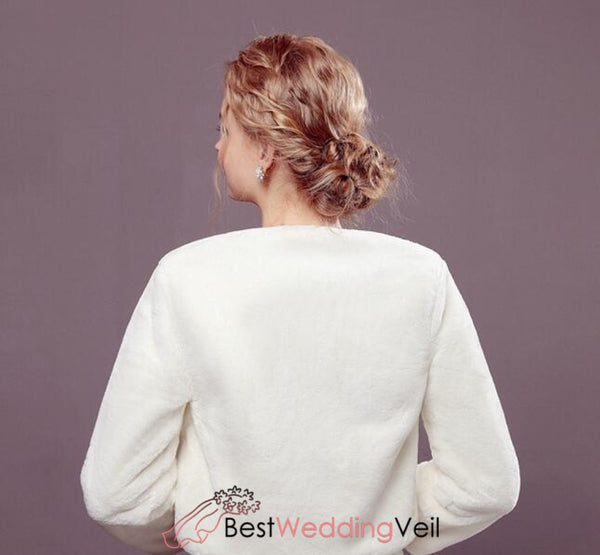 Winter Wedding Bridal Bolero Shrug Evening Cover Up Long Sleeve Jacket&bolero