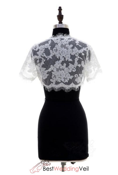 Eyelash Lace Trim Jacket For Brides Short Sleeves Jacket&bolero