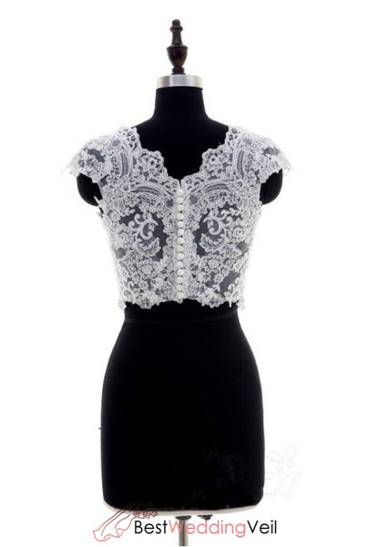 Cap Sleeved Lace Wedding Seperate Elegant Top For Bride Bolero Jacket&bolero