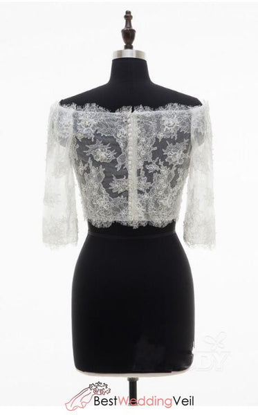 Fashion 3/4 Sleeves Lace Top Off-Shoulder Sexy Bridal Jackets Jacket&bolero