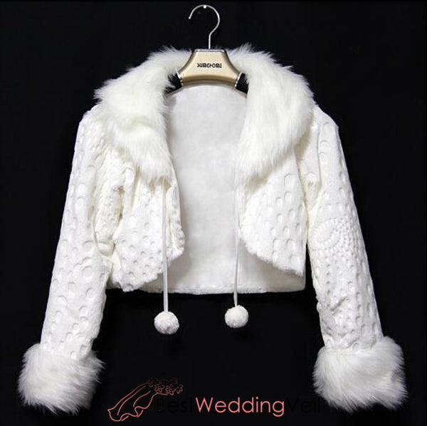 Waist Length Faux Fur Coat For Bride Long Sleeves Winter Wedding Jacket Jacket&bolero