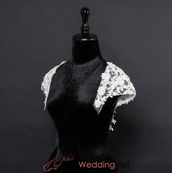 Detachable Wedding Cap Sleeves Keyhole Back Lace Dress Neckline Jacket&bolero