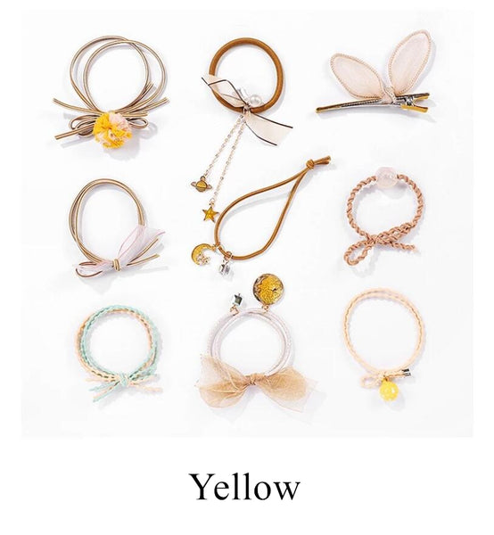 Cute Hair Ties Ropes Scrunchie Hair Ponytail Accessories Set (Free Gift With This Order)