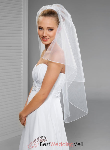 Simple Tulle Fingertip Wedding Veils With Comb Double Tiers Veil