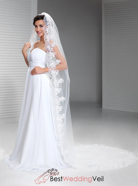 Single Tulle Long Bride Veils With Appliqued Edged Wedding Veil