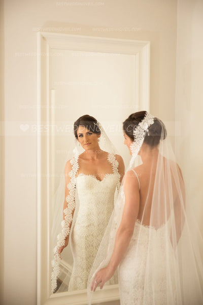 affordable-lace-appliqued-long-wedding-veil-without-comb-3