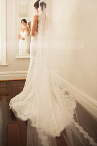affordable-lace-appliqued-long-wedding-veil-without-comb