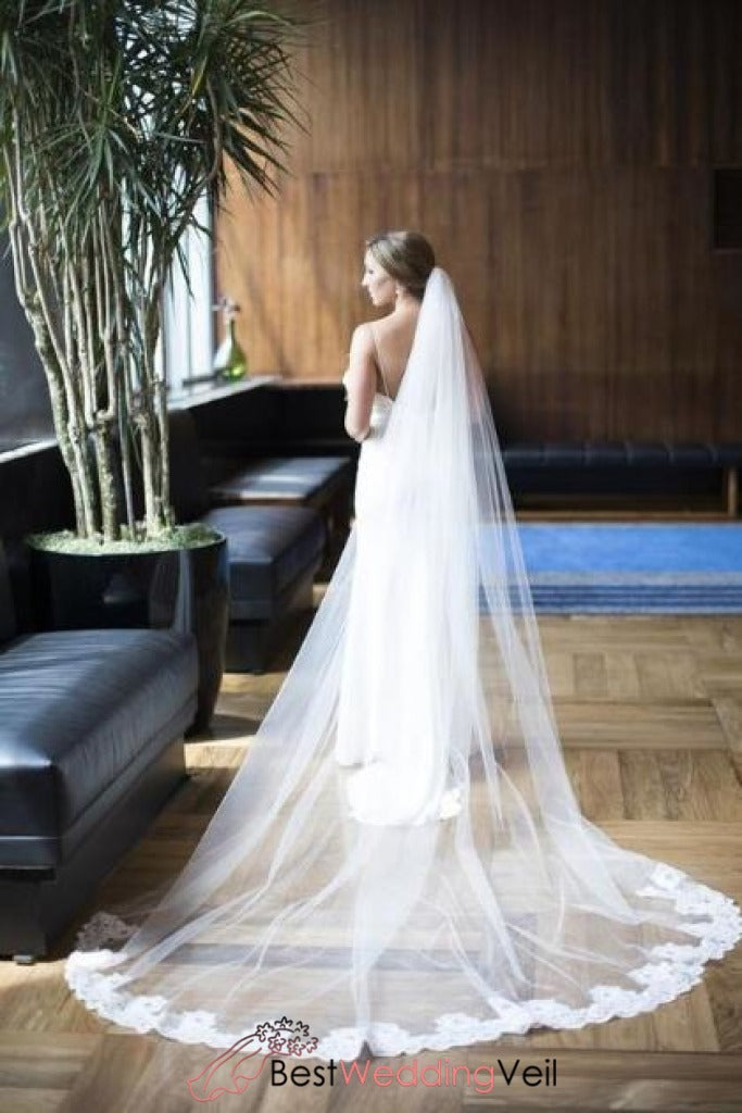 alencon-lace-partial-applique-long-veil-for-wedding